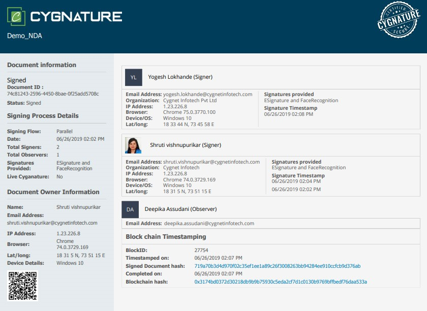 Cygnature Certificate of Completion