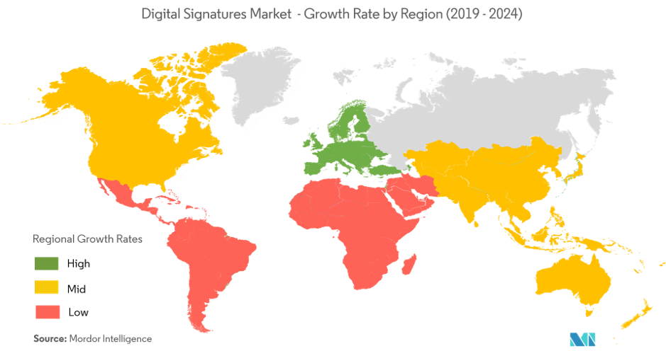 Digital Signature Market- Growth Rate by Region (19-20)